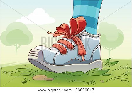 Small Sneaker On The Grass
