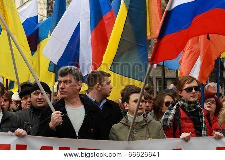 Boris Nemtsov And Ilya Yashin On The Peace March In Support Of Ukraine