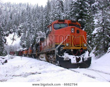 Snowy mountains freight train