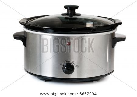 Electric crock pot or slow cooker isolated on white. poster