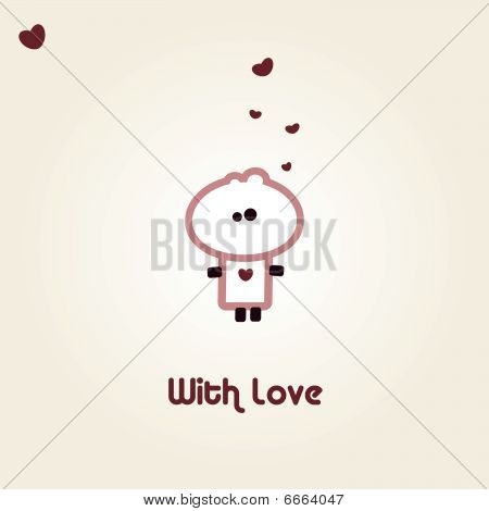 Illustrated valentines card with