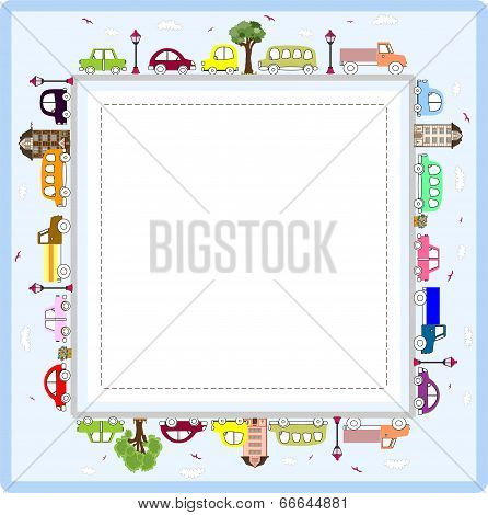 Baby greeting card or frame  with cars