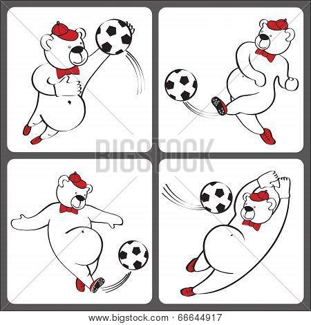 Bears Plays Football.cartoon Vector Humorous Illustration Set