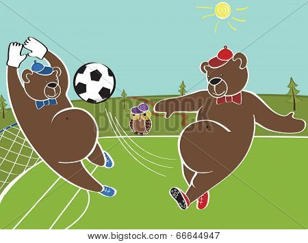 Two Brown Bears Plays Football.cartoon Vector Humorous Illustration