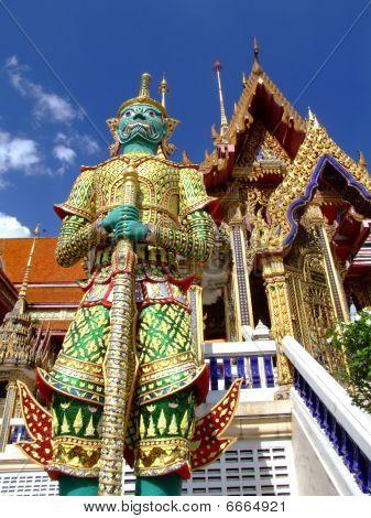 Colorful pagoda at a temple in Bangkok, Thailand.