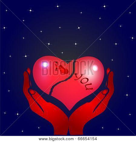 Broken heart and hands