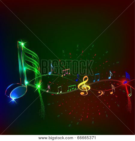 Neon music notes