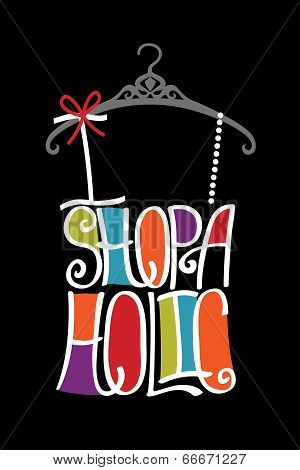 Silhouette Of Woman Shirt  From Words Shopaholic.bright Colors
