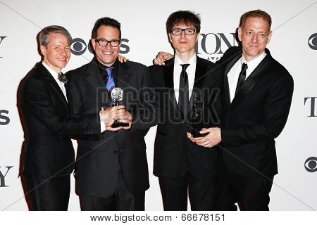NEW YORK-JUNE 8: (L-R) John Cameron Mitchell, Michael Mayer, Stephen Trask and David Binder at American Theatre Wings 68th Annual Tony Awards at Radio City Music Hall on June 8, 2014 in New York City.