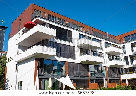 Modern house with balconies