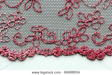 Red flowers lace material texture macro shot poster