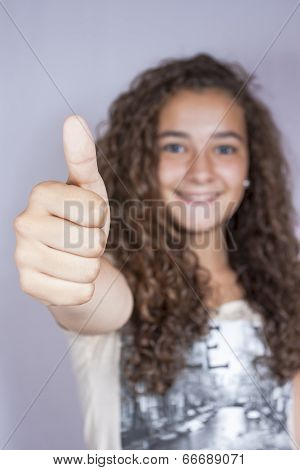 Girl With Thumbs Up, Happy And Successful