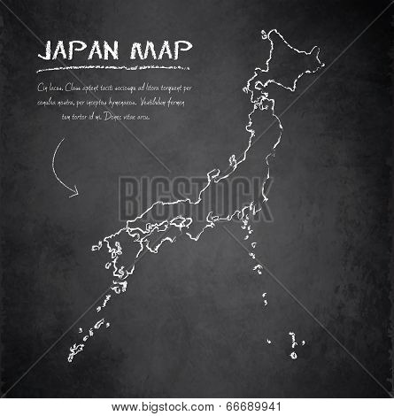 Japan map blackboard chalkboard vector
