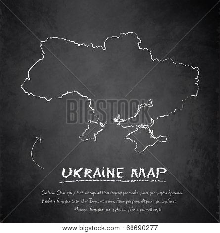 Ukraine map blackboard chalkboard vector