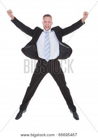 Exultant Businessman Cheering