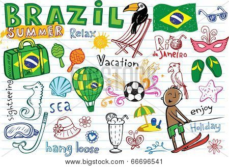 Summer in Brazil - doodles collection - vacation, football, Brazilian accessories, clothes, trees, musical instruments, animals. For banners, backgrounds, presentations.