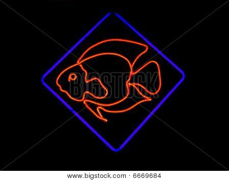 Neon Fish Shaped Sign
