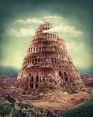 Tower of Babel as religion concept poster