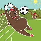 Brown bear plays football .Bear goalkeeper catches the ball.Football field in the forest.Cartoon vector humorous illustration poster