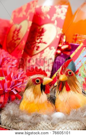 Couple Chicken As Chinese Wedding Decoration
