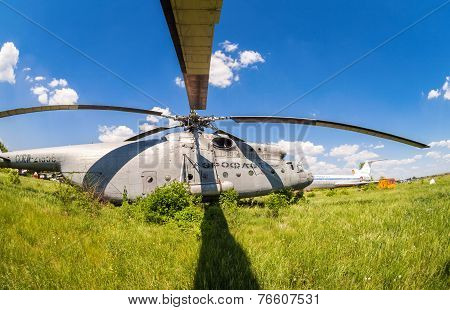 Samara, Russia - May 25, 2014: The Russian Heavy Transport Helicopter Mi-6 At An Abandoned Aerodrome