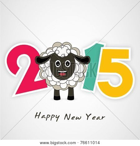 Kiddish greeting card design with colorful text and sheep for year of the sheep 2015 celebrations.