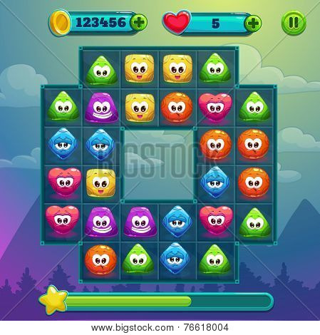 Ingame window, game interface with game board, cute simple characters with different colors and emotions, xp bar, coins and lives bars with add button, pause button poster