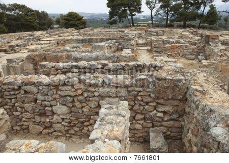 Parte de la antigua ciudad de minoico de Festos en Creta