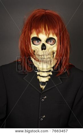 Funny Man In Mask A Skull And Wig
