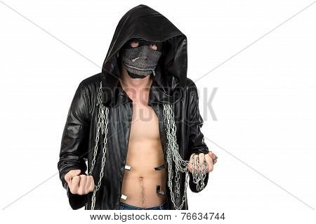 Image of the man dressed in hooded cloak with chain on white background poster