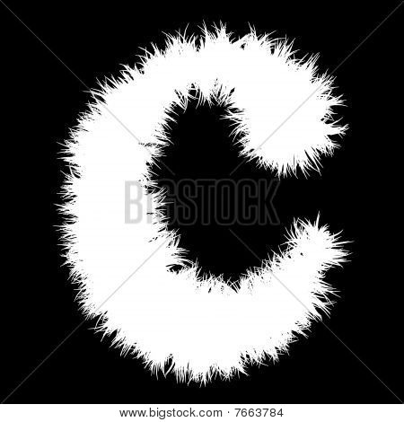 High resolution 2D white font isolated on black background