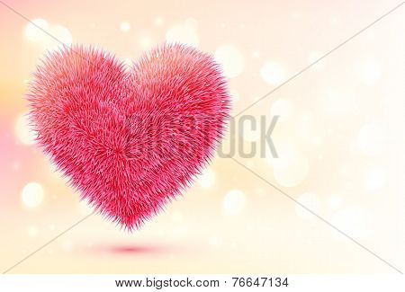poster of Pink fluffy vector heart on shining bokeh background