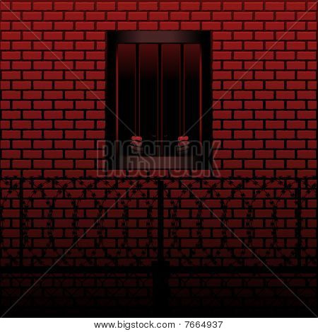 Convict in jail cell