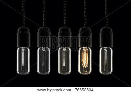 Beautiful vintage style lightbulbs - one of them turned on