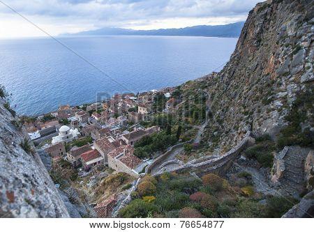 Top view of Monemvasia, Greece.