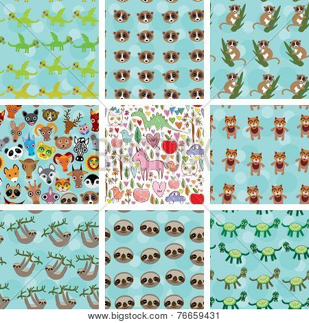 Set Of 9 Seamless Pattern With Funny Animals On  Blue Background. Vector