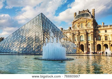 The Louvre Pyramid In Paris