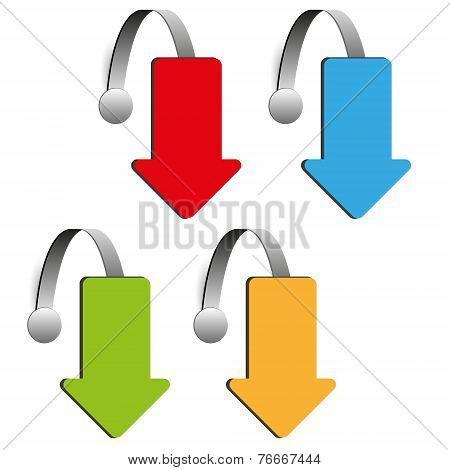 set of four color arrow wobblers