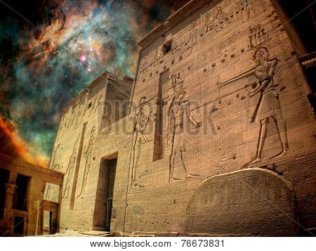 Isis Temple And Orion Nebula (elements Of This Image Furnished B