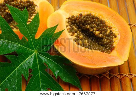 Fresh Papaya And Green Leaf