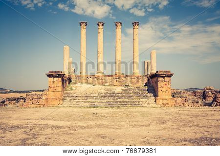 Thuburbo majus Tunisia a few of the remaining pillars which once builded the Capitol poster