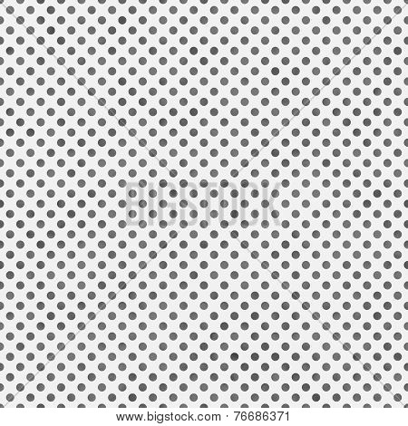 Medium Gray and White Small Polka Dots Pattern Repeat Background that is seamless and repeats poster