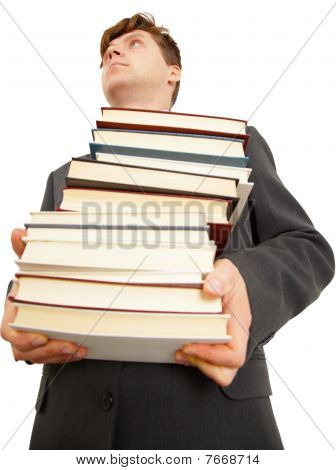People Holding Large Number Of Books