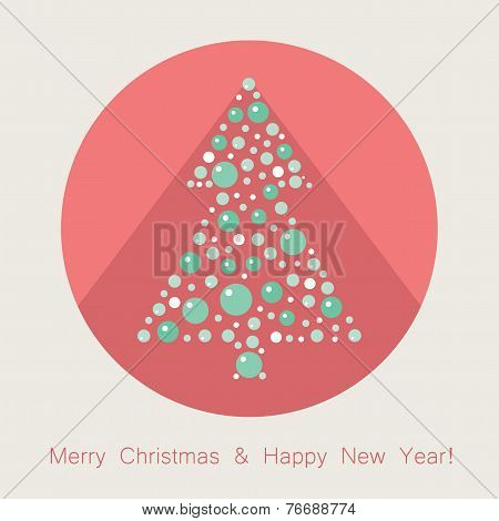 Vector Christmas Tree Flat Icon With Long Shadow