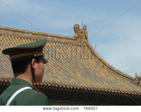Soldier Guards the Forbidden City in Beijing, China