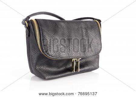 Black Woman Bag Made Of Genuine Leather Isolated On White