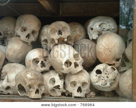 Genocide Memorial featuring Skulls at the Killing Fields, Cambodia