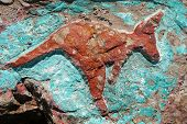 ancient aboriginal rock carving of a red kangaroo poster