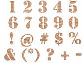 Burlap material textured numbers signs and symbols isolated on white background. poster