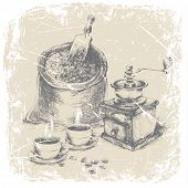 hand drawing bag of coffee, vintage coffee grinder and two cups of coffee on the table, grunge frame, monochrome poster